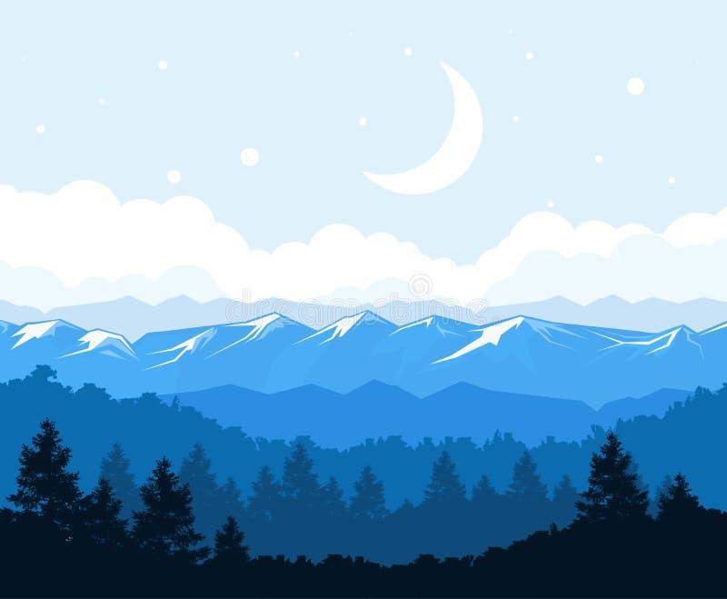 Floresta nevoenta no pé das montanhas - as rochas ajardinam ilustração royalty free