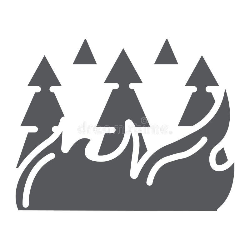 A floresta no ícone, na queimadura e no desastre do glyph do fogo, árvores ardentes assina, os gráficos de vetor, um teste padrão ilustração stock