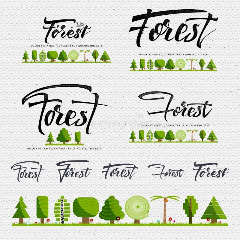 Floresta - o crachá, etiqueta pode ser usado para projetar Web site, roupa, anunciando ilustração stock