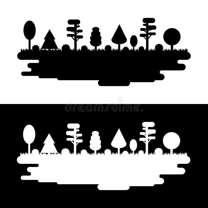 Floresta, parque, aleia com árvores diferentes Panorama preto e branco da silhueta Obscuridade e luz Ilustração do vetor ilustração royalty free