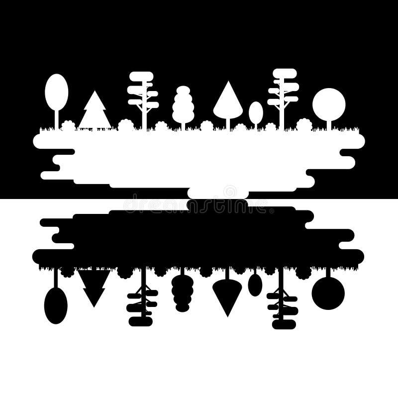 Floresta, parque, aleia com árvores diferentes Panorama preto e branco da silhueta Suporte isolador escuro e leve Parque da madei ilustração do vetor