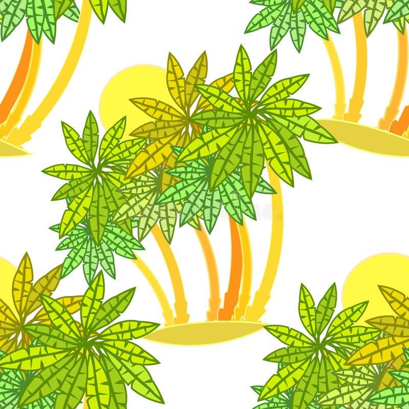 Floresta sem emenda do teste padrão das palmeiras em uma ilha no sol ilustração royalty free