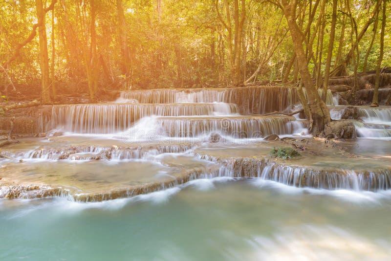 Floresta tropical tropical com a cachoeira múltipla da camada fotografia de stock royalty free