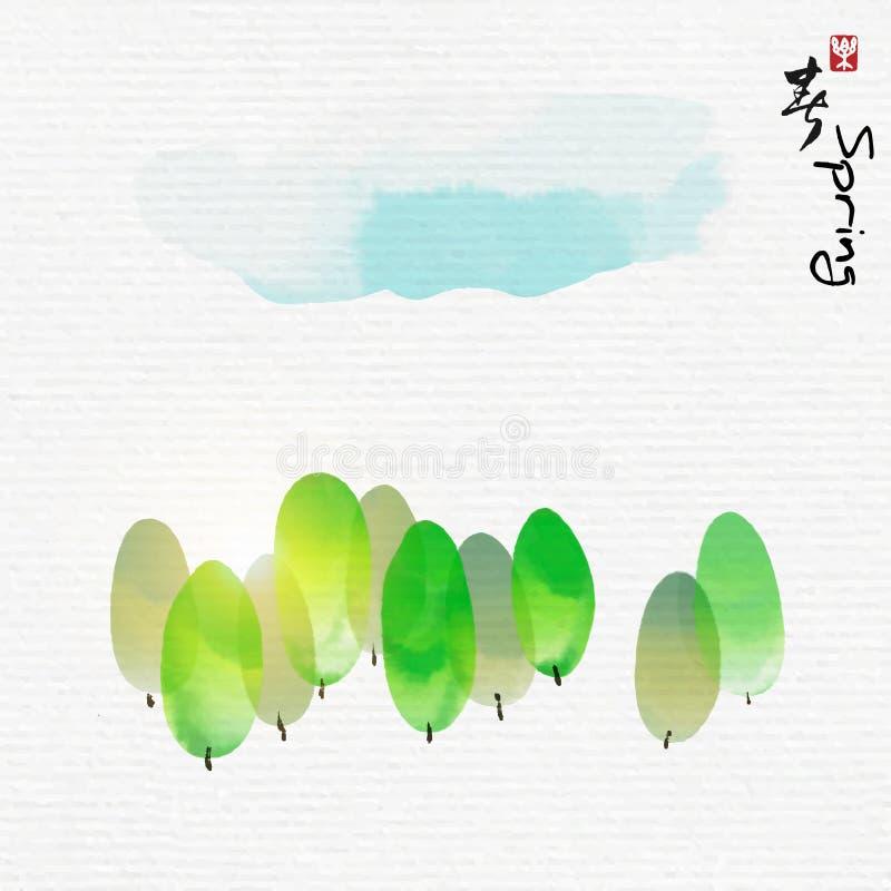 A floresta verde com estilo da arte da pintura chinesa, caráteres chineses significa aprecia a mola ilustração do vetor