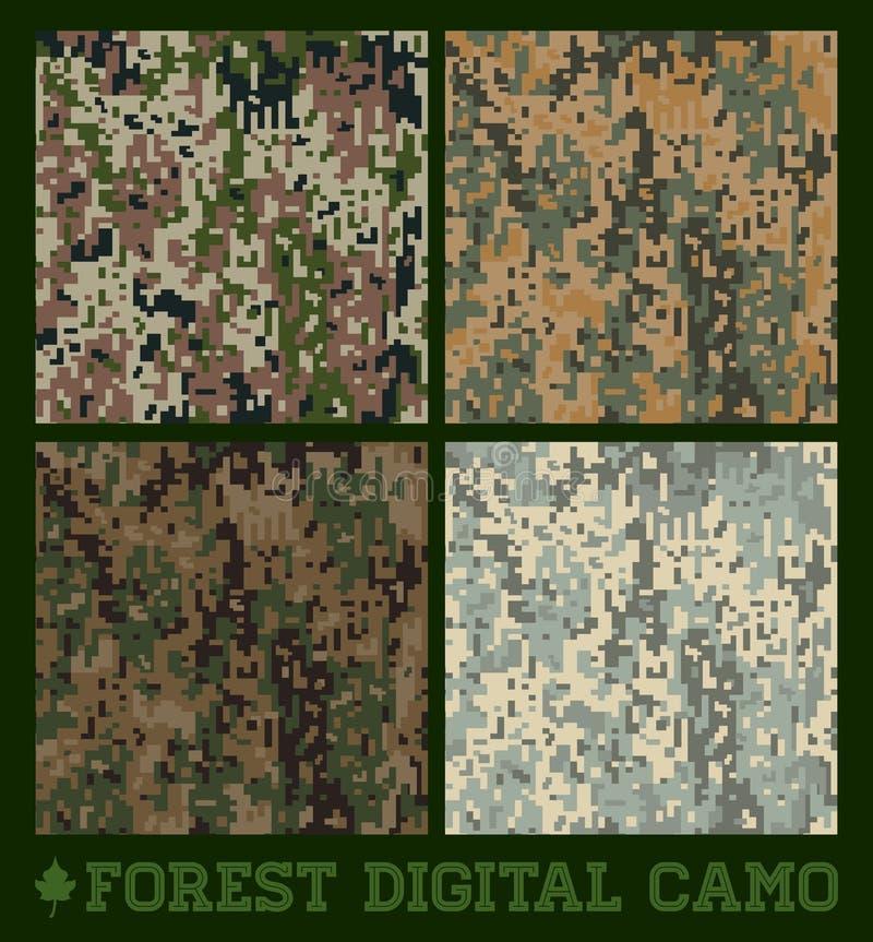 Floresta - vetor sem emenda Camo digital ilustração stock
