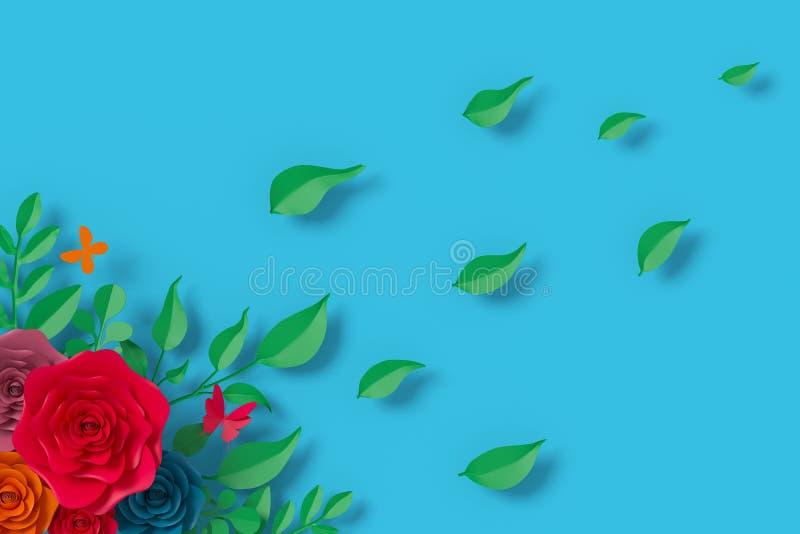 Florezca el estilo de papel, rosa colorida, arte de papel floral, mosca del papel de la mariposa, representaci?n 3d, con la traye imágenes de archivo libres de regalías