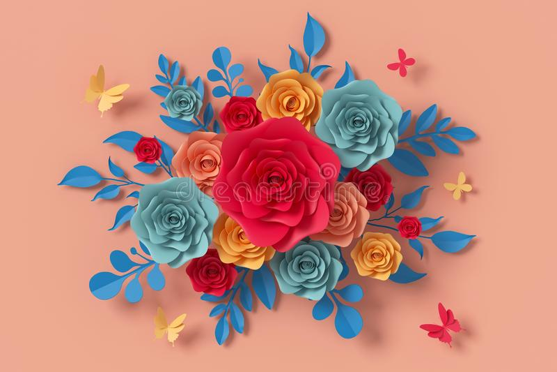 Florezca el estilo de papel, rosa colorida, arte de papel floral, mosca del papel de la mariposa, representaci?n 3d, con la traye fotografía de archivo