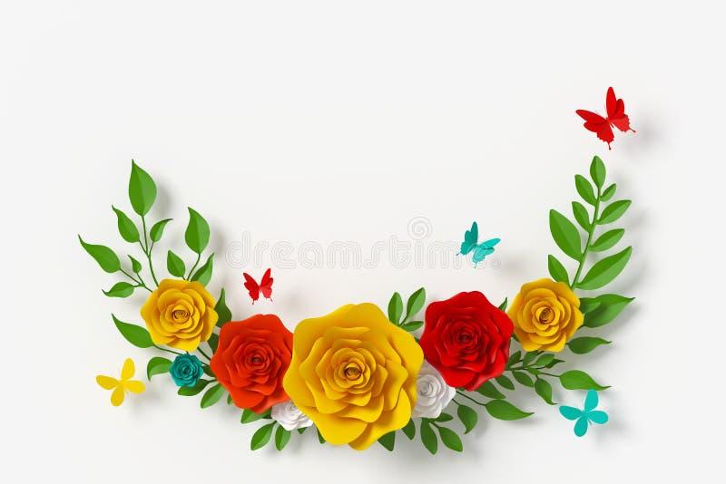 Florezca el estilo de papel, rosa colorida, arte de papel floral, mosca del papel de la mariposa, representaci?n 3d, con la traye foto de archivo libre de regalías