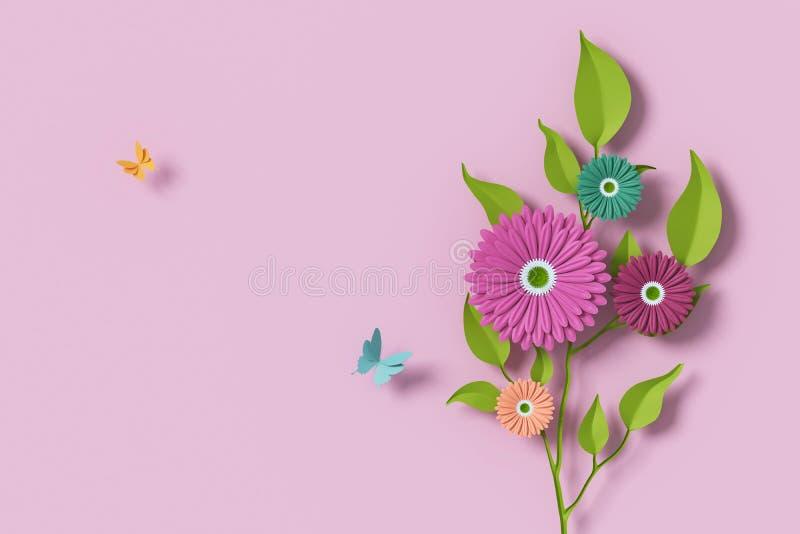 Florezca el estilo de papel, rosa colorida, arte de papel floral, mosca del papel de la mariposa, representaci?n 3d, con la traye foto de archivo