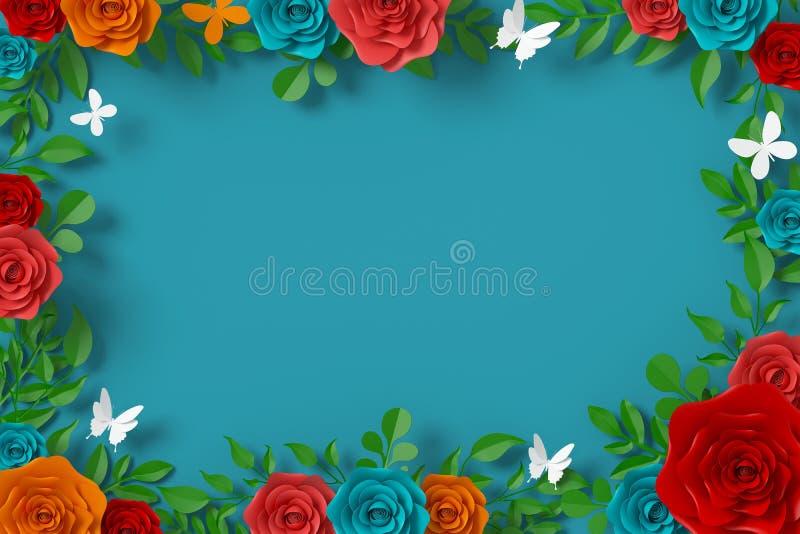 Florezca el estilo de papel, rosa colorida, arte de papel floral, mosca del papel de la mariposa, representaci?n 3d, con la traye imagenes de archivo