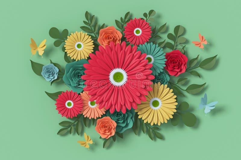 Florezca el estilo de papel, rosa colorida, arte de papel floral, mosca del papel de la mariposa, representaci?n 3d, con la traye imagen de archivo libre de regalías
