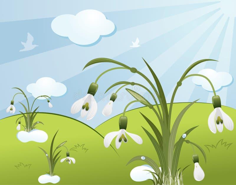 Florezca el fondo con snowdro libre illustration