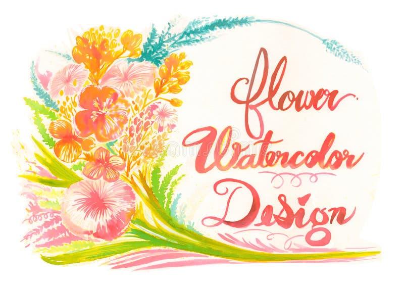 Florezca el marco del fondo de la acuarela y el diseño de la tarjeta de felicitación stock de ilustración