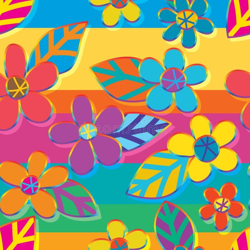 Florezca el modelo inconsútil de la disposición del arco iris de la raya del estilo de la hoja stock de ilustración