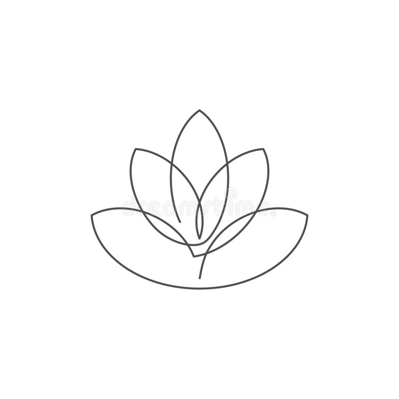 Florezca la línea continua ejemplo del loto del vector con el movimiento editable stock de ilustración