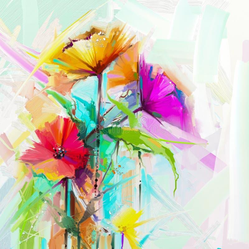 Florezca las pinturas en fondo del color amarillo y rojo Fondo estacional de la naturaleza de la flor de la primavera ilustración del vector