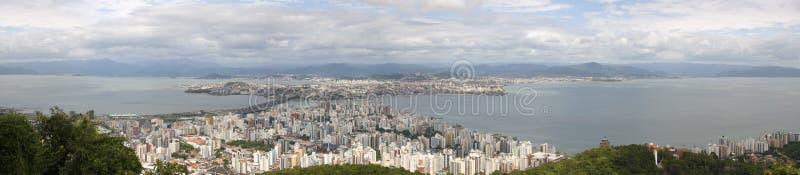Florianà ³polis-SC Brasilien flyg- sikt som är panorama- arkivfoto