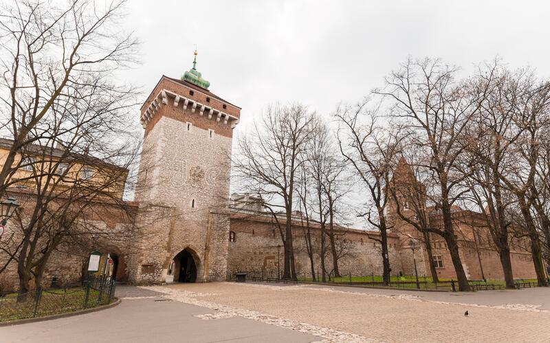 Florian`s Gate in Krakow Poland. Poland`s historic center, a old town with ancient architecture.  stock image