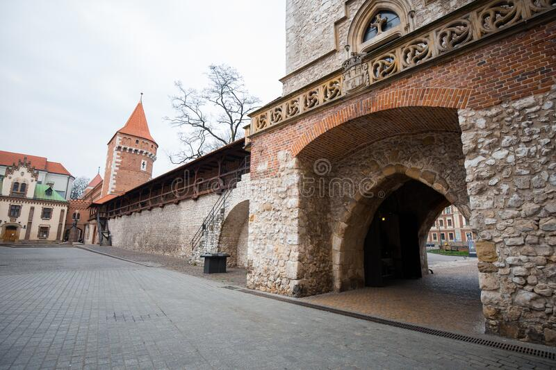 Cracow, Poland - March 19, 2020 Florian`s Gate in Krakow Poland. Poland`s historic center, a old town with ancient architecture. Florian`s Gate in Krakow Poland royalty free stock images