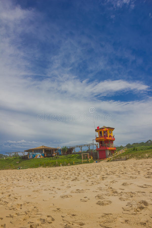 FLORIANOPOLIS, BRAZIL - MAY 08, 2016: nice and colorfull lifeguard hut located in mole beach royalty free stock photography