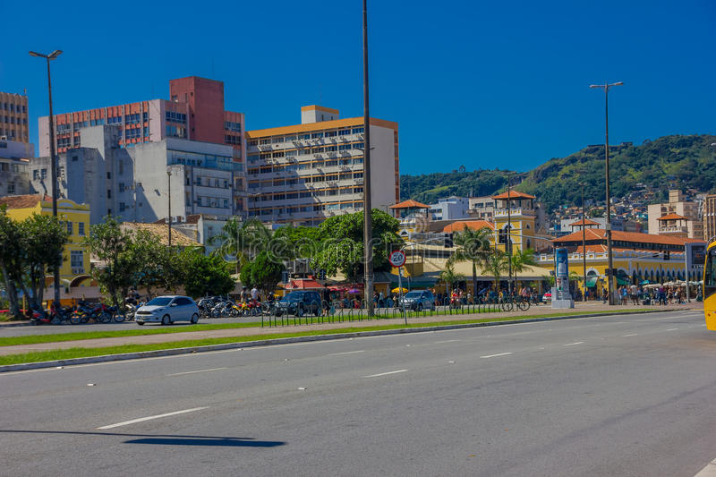 FLORIANOPOLIS, BRAZIL - MAY 08, 2016: nice view of the empty street with lot of pedestrians at the corner outside the stock photos
