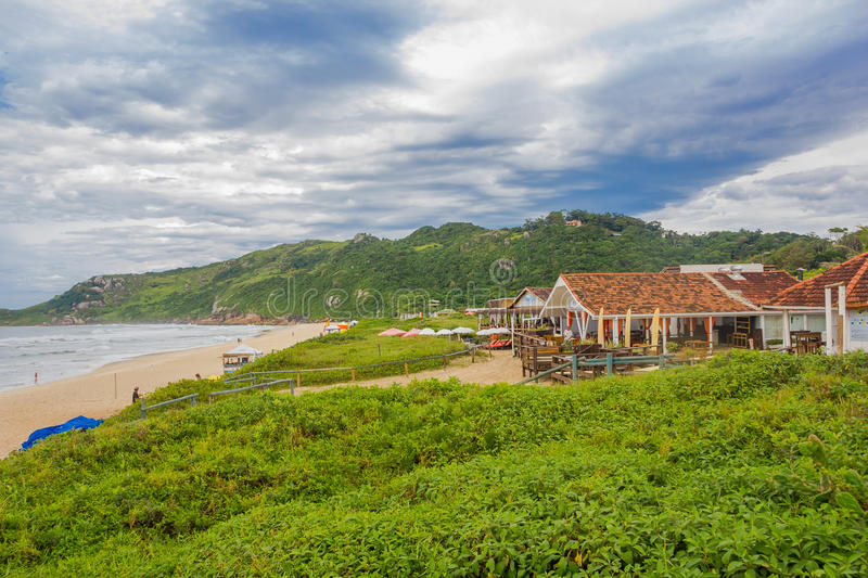 FLORIANOPOLIS, BRAZIL - MAY 08, 2016: nice view of praia mole with some restaurants in front of the beach and some royalty free stock image