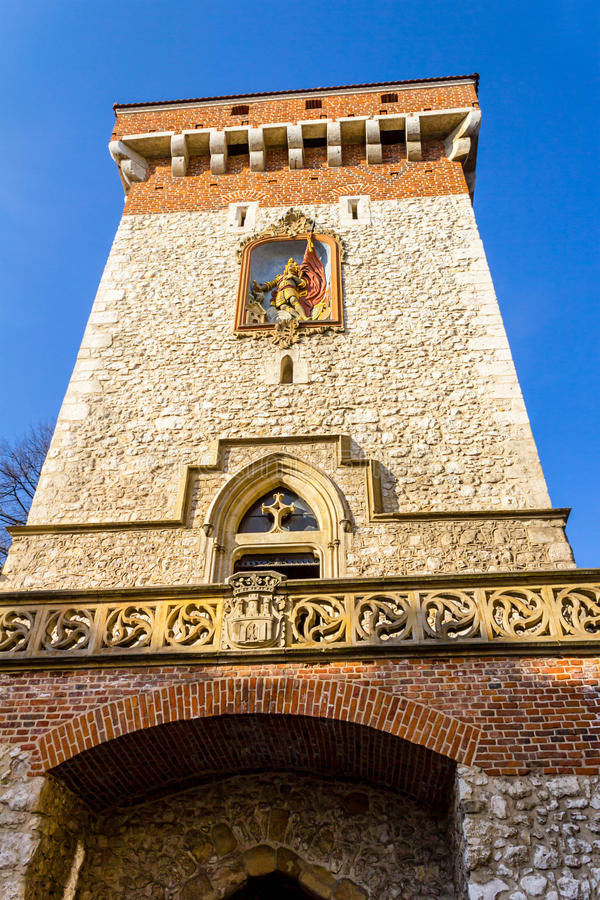 Florianska门,历史建筑学,克拉科夫,波兰 库存照片