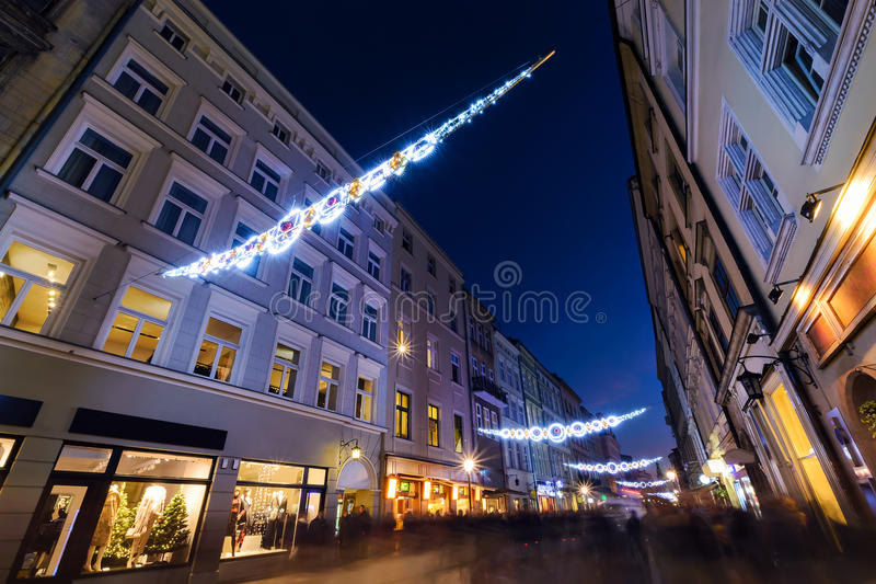 Florianska street in the centre of Krakow, decorated by the christmas lights. Poland stock image