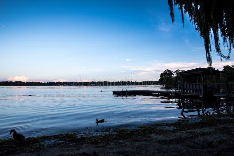 Florida弗吉尼亚湖在晚上 库存图片