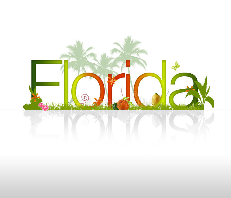 Florida. HIgh resolution Florida graphic with tropical elements