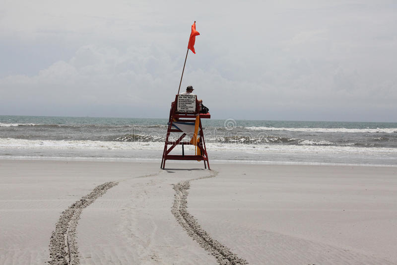 Florida beach. Lifeguard on duty on Florida beach stock photography