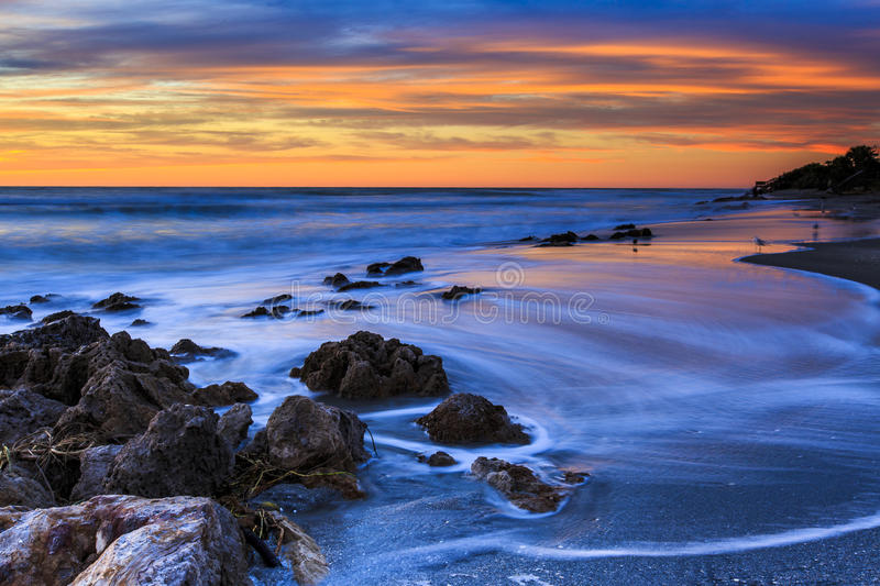Florida Beach Sunset. This beach sunset image was captured at Casperson Beach during the winter. Casperson Beach is located just south of Venice Beach royalty free stock photography