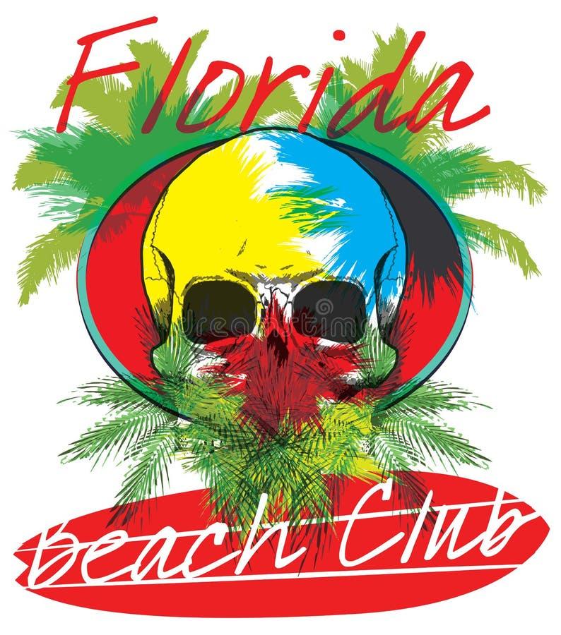 Florida beach Surf club concept Vector Summer surfing retro badge. Surfer club emblem; outdoors banner; vintage background royalty free illustration