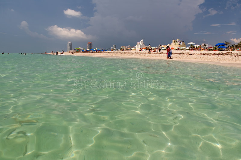 Florida beach view from ocean royalty free stock photography