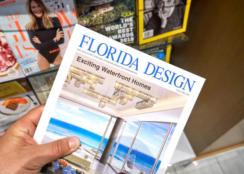 Florida Design magazine in a hand royalty free stock photography
