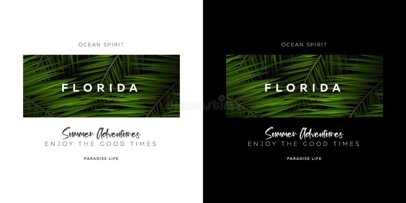Florida e Miami EUA Cópia do t-shirt da tipografia das folhas de palmeira ilustração do vetor