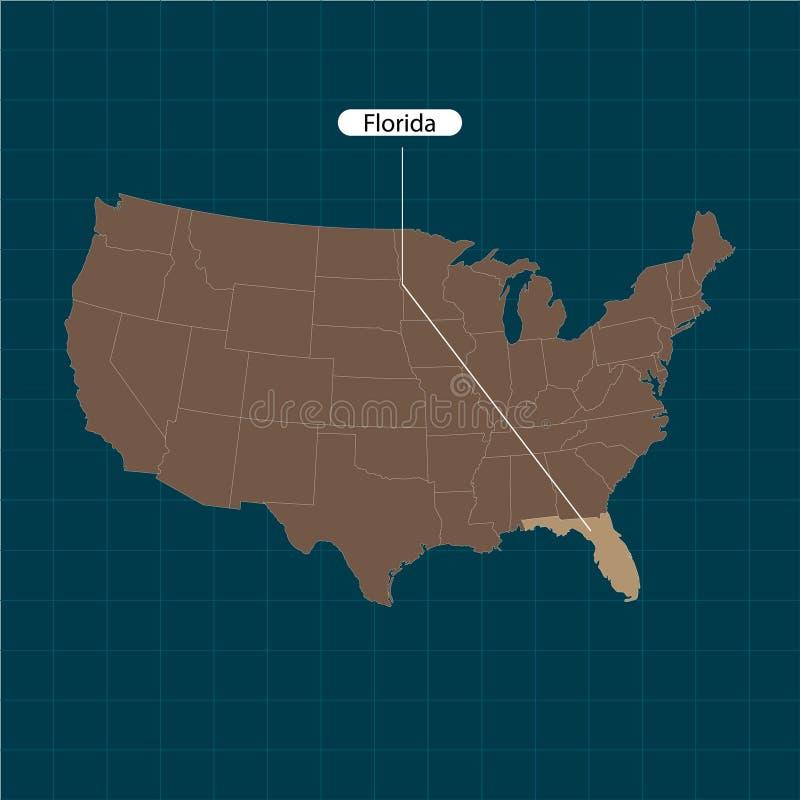 florida Estados de território de América no fundo escuro Estado separado Ilustração do vetor ilustração stock