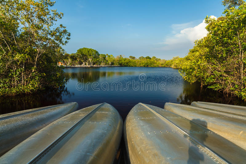 Florida Everglades. Canoes ready for recreation at a Florida Everglades park royalty free stock photo