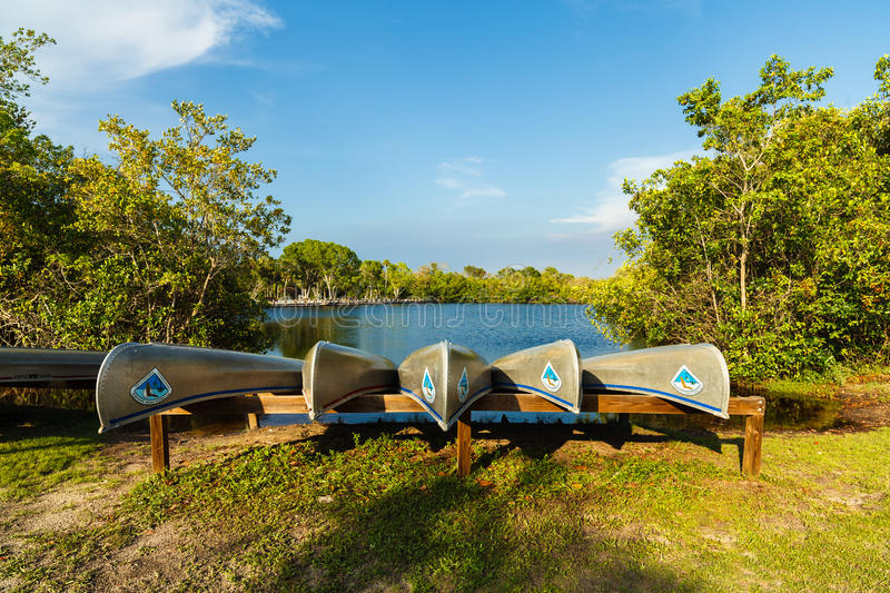 Florida Everglades. Naples, FL USA - May 20, 2015: Canoes ready for rental at the Collier-Seminole state park along Highway 41 in the popular Everglades stock image