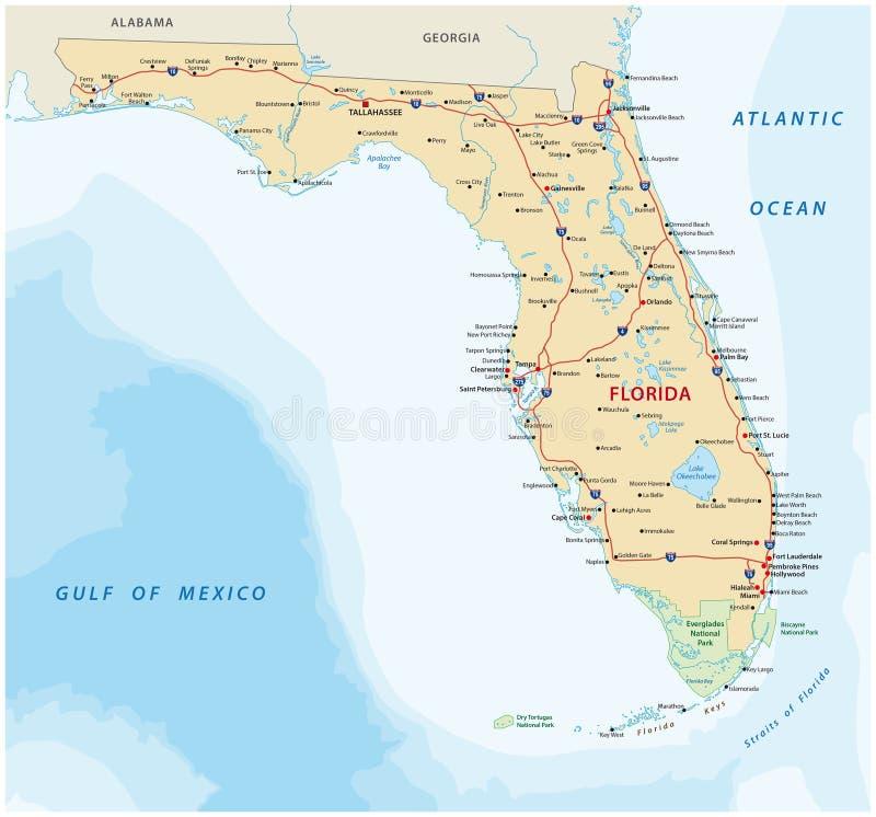 Florida färdplan med nationalparker vektor illustrationer