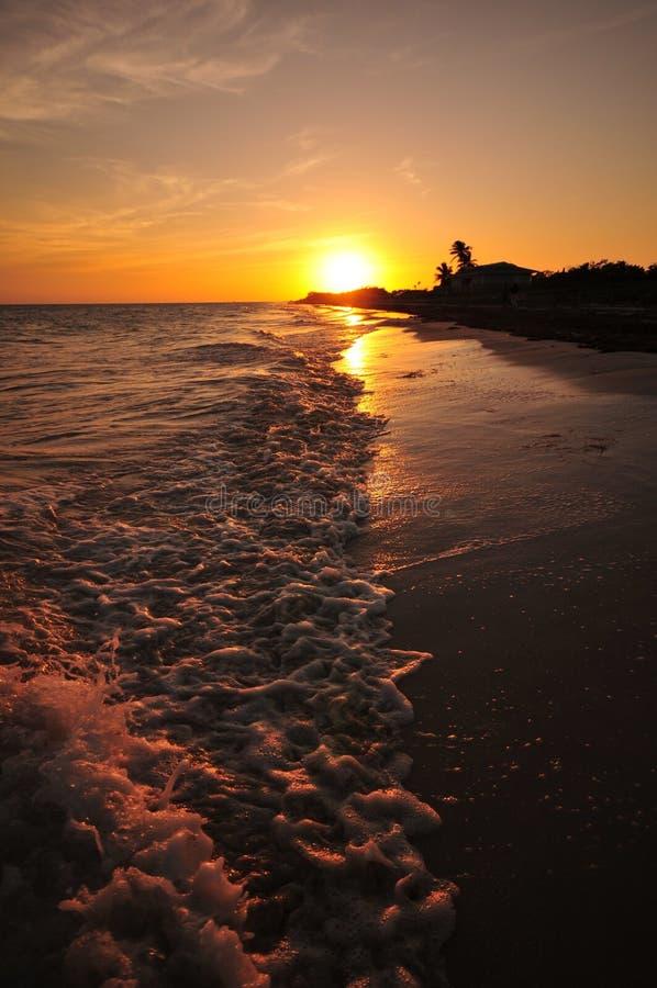 Florida fecha o por do sol fotografia de stock