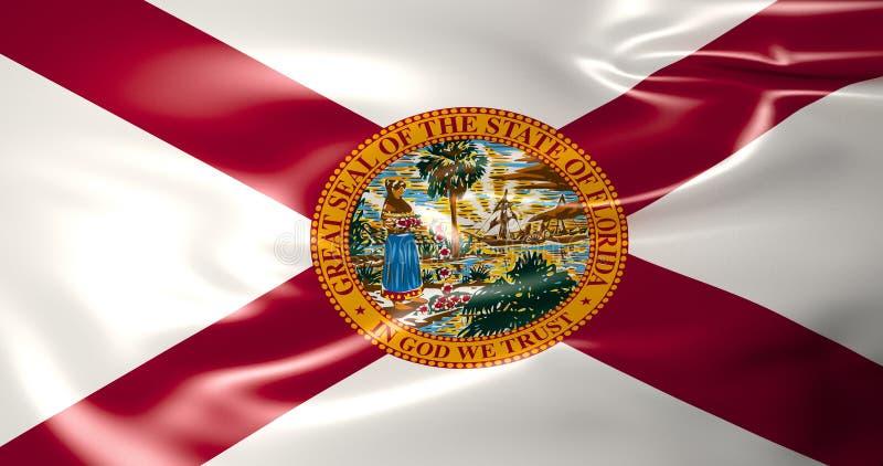 Florida flagga Amerika tillstånd förenade illustration 3d stock illustrationer
