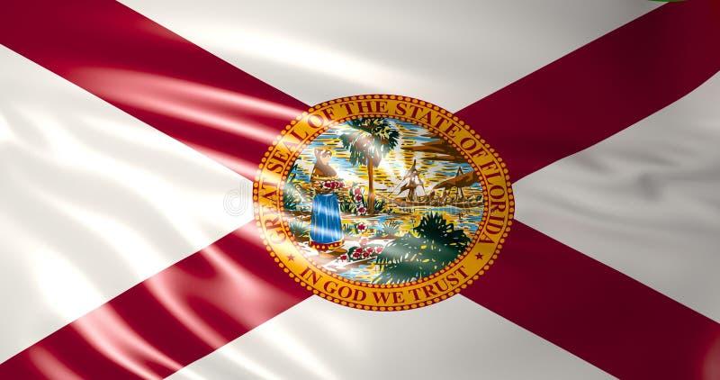 Florida flagga Amerika tillstånd förenade illustration 3d royaltyfri illustrationer