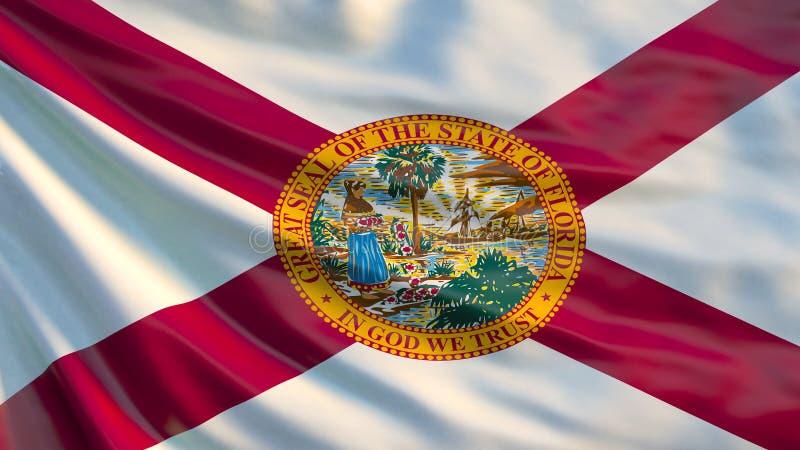 Florida-Flagge Wellenartig bewegende Flagge von Florida-Staat, die Vereinigten Staaten von Amerika vektor abbildung