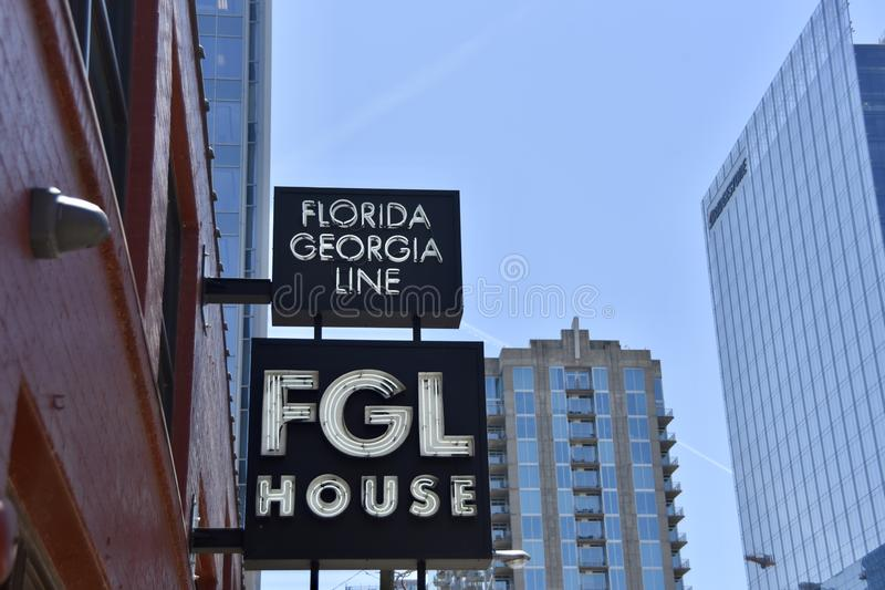 FGL Florida Georgia Line House, Nashville, TN. Florida Georgia Line sometimes abbreviated as FGL is an American country music duo consisting of vocalists Tyler royalty free stock photos