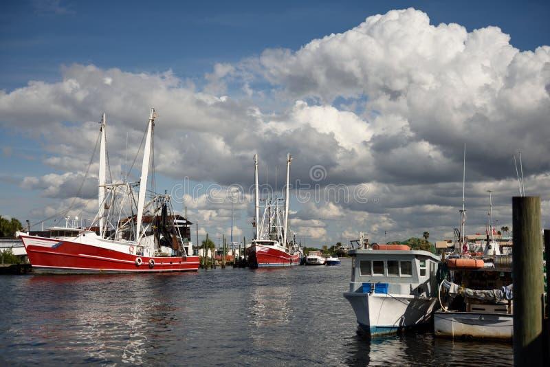 Florida Gulf Coast waterway with fishing boats, blue sky royalty free stock photo