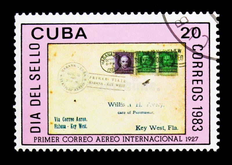 Florida-Havana dekking, Zegeldag serie, circa 1983 stock foto
