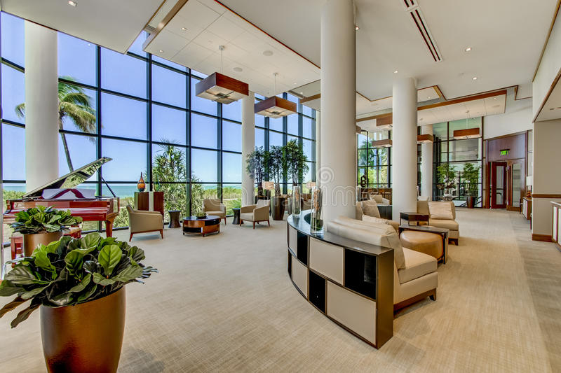 Florida high rise luxury condo event and conference room. Florida luxury high rise condo event and conference center facing the Gulf of Mexico. Wet bar, food stock photos