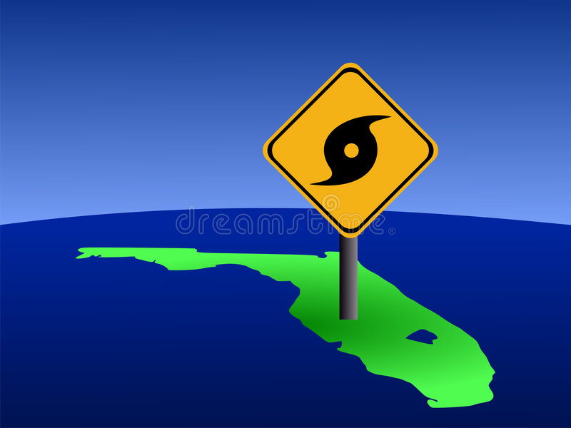 Florida with hurricane sign vector illustration