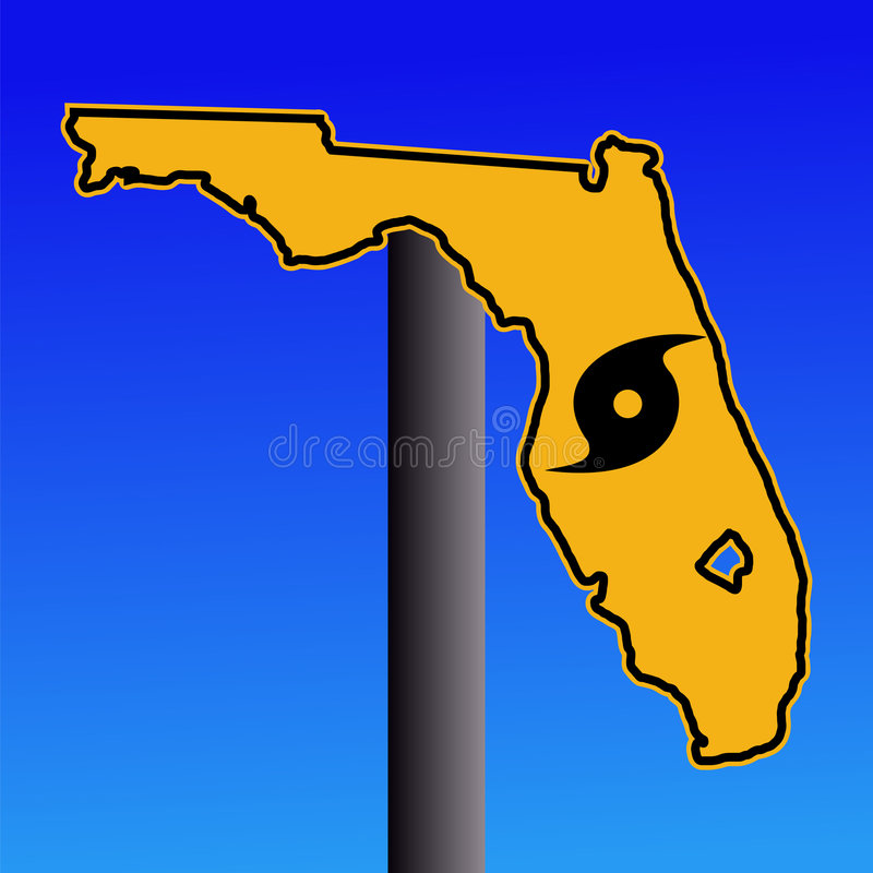 Florida hurricane warning sign vector illustration